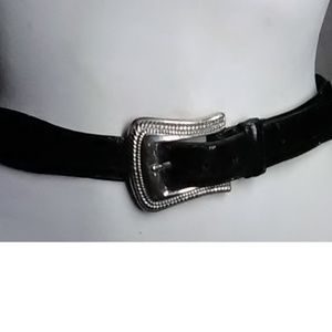 Fossill Black Alligator Silver Belt Size M